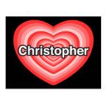 Amo a Christopher. Te amo Christopher. Corazón Tarjetas Postales