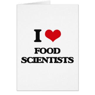 Amo a científicos de la comida tarjetas