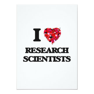 """Amo a científicos de la investigación invitación 5"""" x 7"""""""