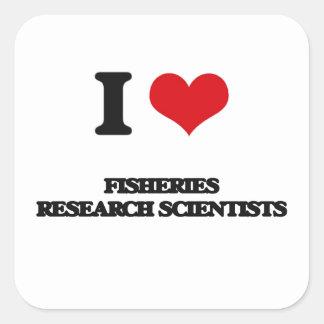 Amo a científicos de la investigación pesquera pegatinas cuadradases