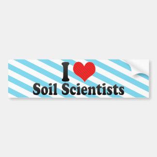 Amo a científicos del suelo pegatina de parachoque