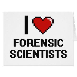 Amo a científicos forenses tarjeta de felicitación grande