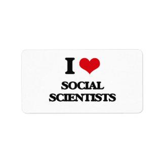 Amo a científicos sociales etiquetas de dirección