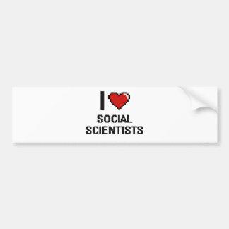 Amo a científicos sociales pegatina para auto