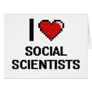 Amo a científicos sociales tarjeta de felicitación grande
