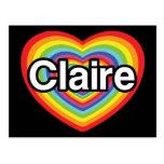 Amo a Claire: corazón del arco iris Postal