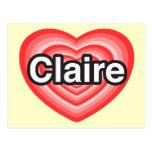 Amo a Claire. Te amo Claire. Corazón Postal