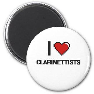 Amo a clarinetistas imán redondo 5 cm