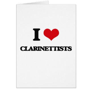 Amo a clarinetistas tarjeta de felicitación