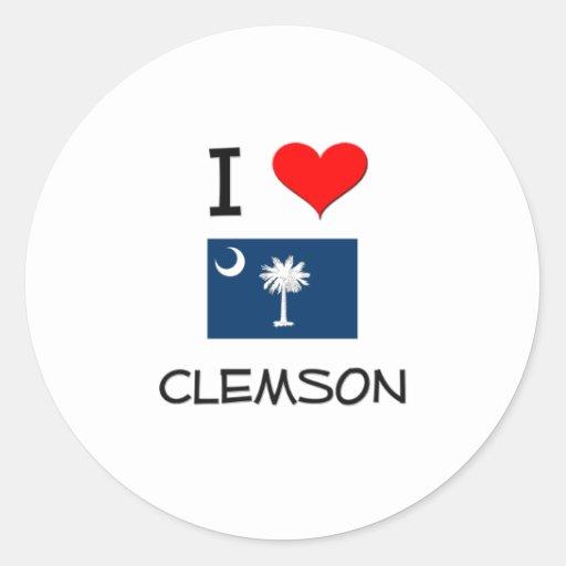 Amo a Clemson Carolina del Sur Pegatina Redonda