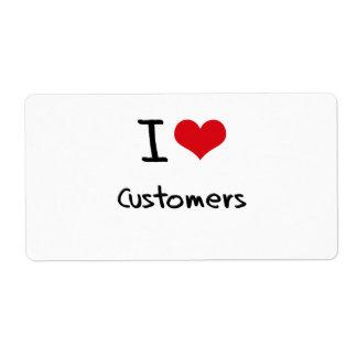 Amo a clientes etiqueta de envío