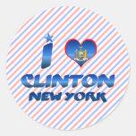 Amo a Clinton, Nueva York Pegatina Redonda