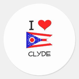 Amo a Clyde Ohio Etiqueta Redonda