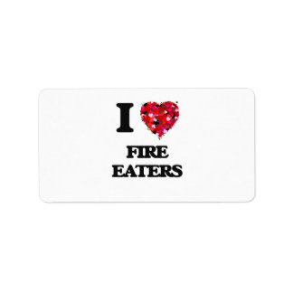 Amo a comedores de fuego etiqueta de dirección
