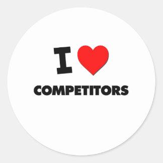 Amo a competidores etiquetas redondas