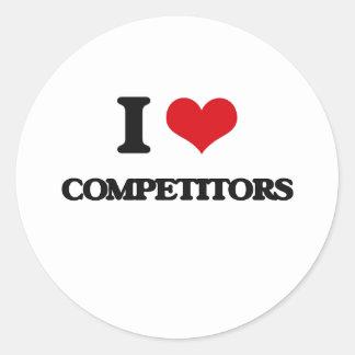 Amo a competidores pegatina redonda