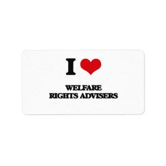Amo a consejeros de las derechas del bienestar etiquetas de dirección