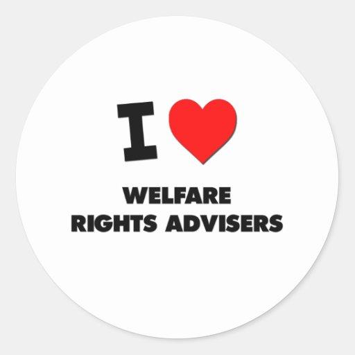 Amo a consejeros de las derechas del bienestar pegatina redonda