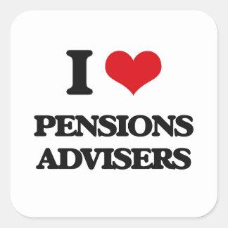 Amo a consejeros de las pensiones pegatinas cuadradas personalizadas