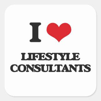 Amo a consultores de la forma de vida calcomanías cuadradas personalizadas