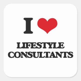 Amo a consultores de la forma de vida colcomanias cuadradass