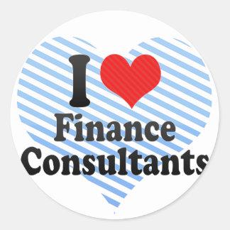 Amo a consultores de las finanzas pegatina redonda
