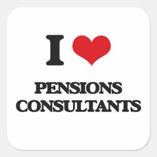 Amo a consultores de las pensiones pegatinas cuadradas personalizadas