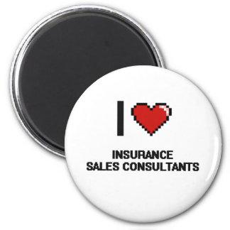 Amo a consultores de las ventas del seguro imán redondo 5 cm