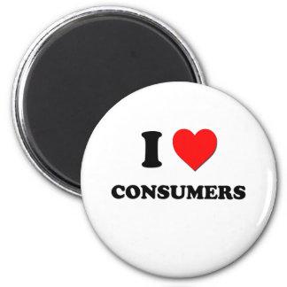 Amo a consumidores imán redondo 5 cm