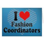 Amo a coordinadores de moda tarjeta