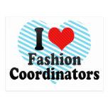 Amo a coordinadores de moda tarjeta postal