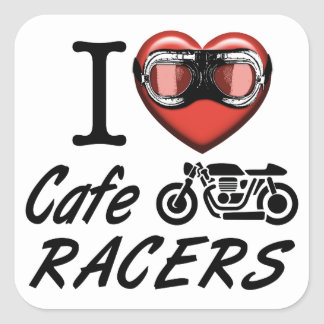 Amo a corredores del café pegatina cuadrada