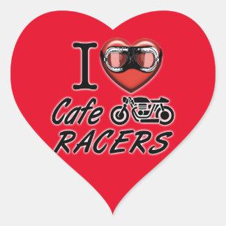 Amo a corredores del café pegatina en forma de corazón