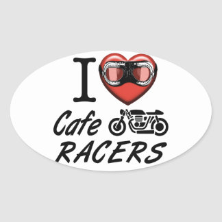 Amo a corredores del café pegatina ovalada