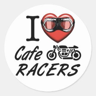 Amo a corredores del café pegatina redonda