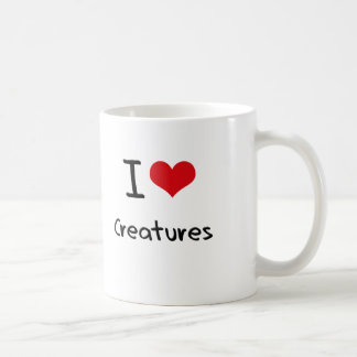 Amo a criaturas taza básica blanca