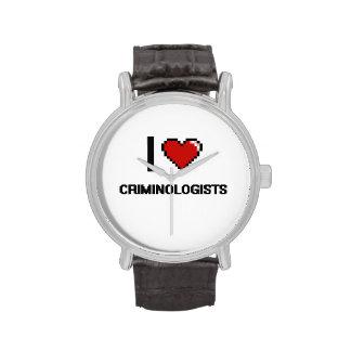 Amo a criminalistas reloj de mano