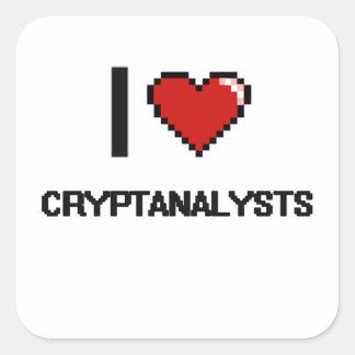 Amo a criptoanalistas pegatina cuadrada