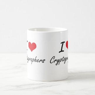 Amo a criptógrafos taza básica blanca