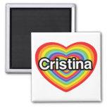 Amo a Cristina: corazón del arco iris Imán Cuadrado