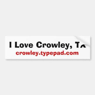 Amo a Crowley, TX, crowley.typepad.com Pegatina De Parachoque