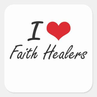 Amo a curadores de la fe pegatina cuadrada