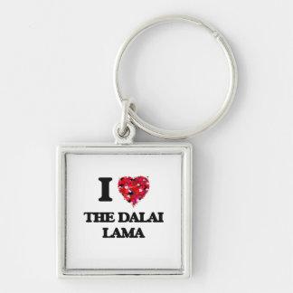 Amo a Dalai Lama Llavero Cuadrado Plateado