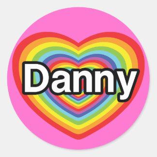 Amo a Danny: corazón del arco iris Pegatina Redonda