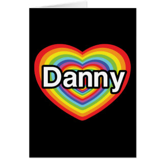 Amo a Danny: corazón del arco iris Tarjeta De Felicitación