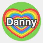 Amo a Danny. Te amo Danny. Corazón Etiquetas Redondas