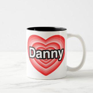 Amo a Danny. Te amo Danny. Corazón Taza De Café De Dos Colores