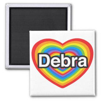 Amo a Debra. Te amo Debra. Corazón Imán Cuadrado