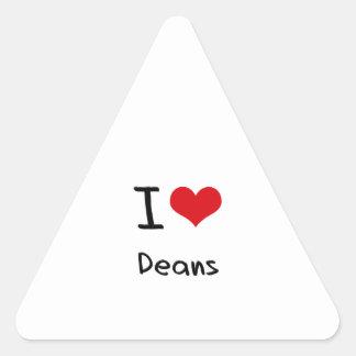 Amo a decanos pegatina triangular