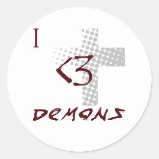 amo a demonios pegatina redonda